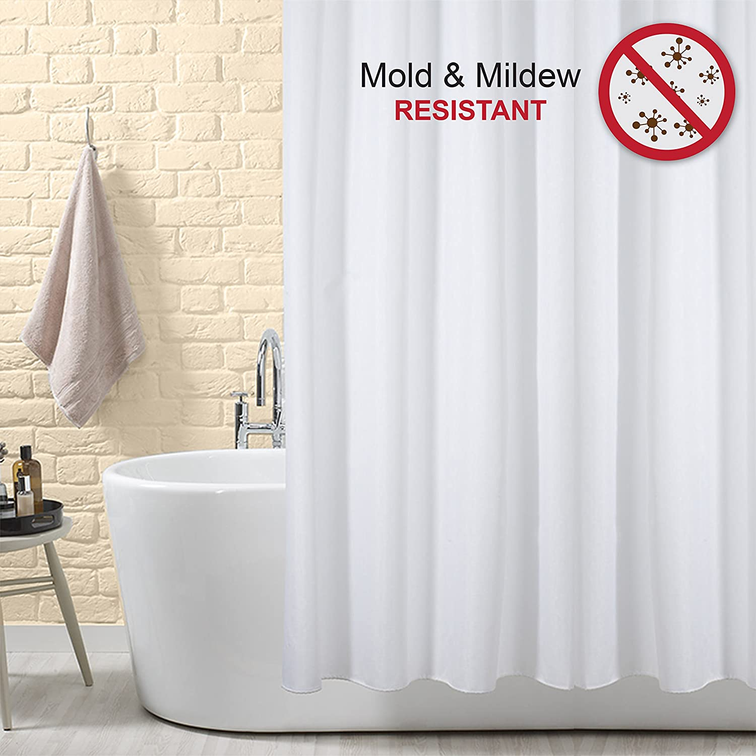 Amazon.com: Shower Curtain Mildew Resistant Polyester Anti-Mold ...