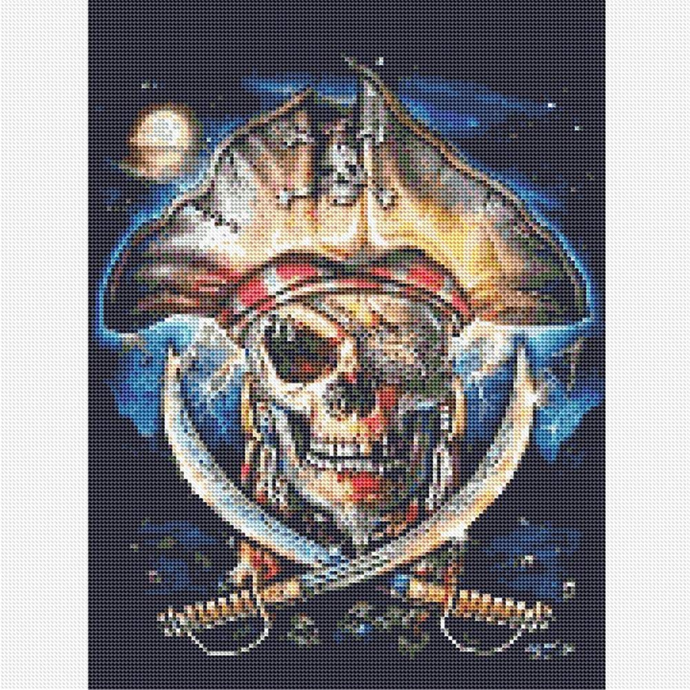 5D Diamond Painting Kit Full Drill,5D Round Full Drill Art Perfect for Relaxation and Home Decor Pirate Skull 11.8x15.7in 1 Pack By AxiEr
