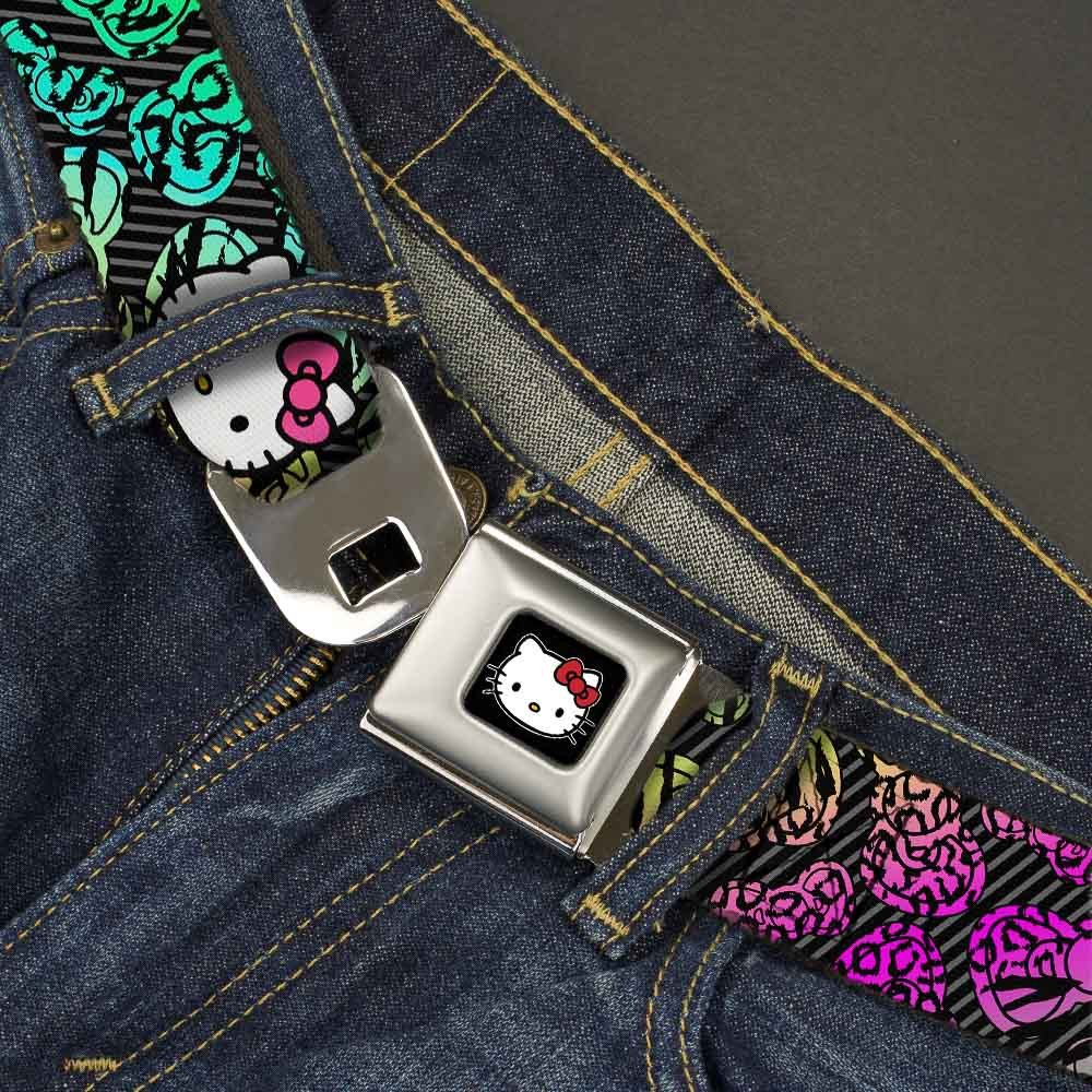 1.5 Wide 32-52 Inches in Length Buckle-Down Seatbelt Belt Hello Kitty Face Pink Bow//Scribble Bows /& Stripes Black//Gray//Rainbow Animal Skins
