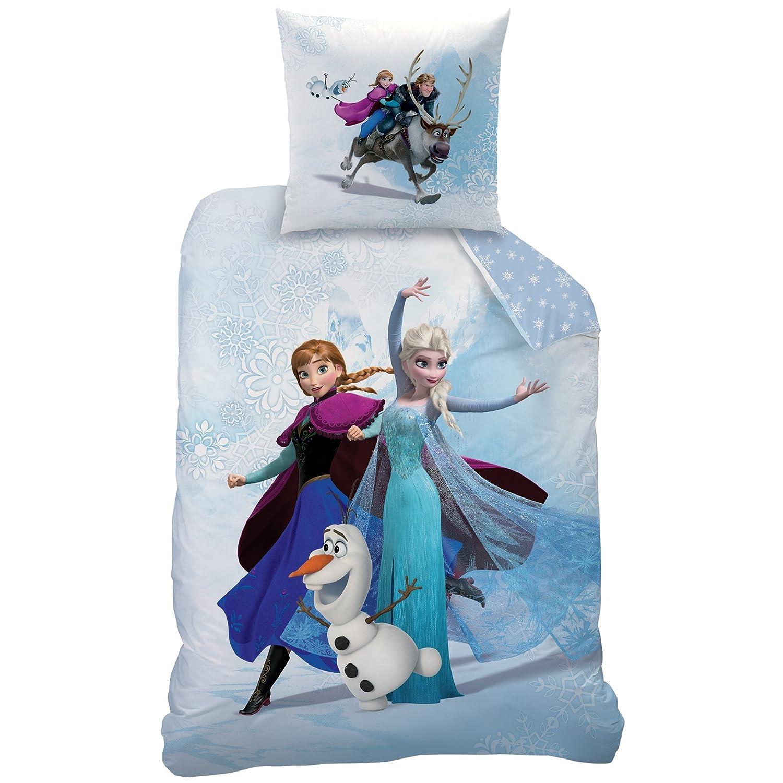 CTI 200 x 140 cm Parure Frozen Enjoy 140X200+63X63 Coton Bleu La Reine des Neiges Disney