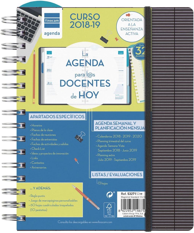 Finocam Magistral Docente - Agenda 2018-2019 semana vista apaisada español, 155 x 215 mm, standard: Amazon.es: Oficina y papelería