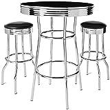Crown Mark 3905Set Retro 3pc Bar Set w/ 2 stools