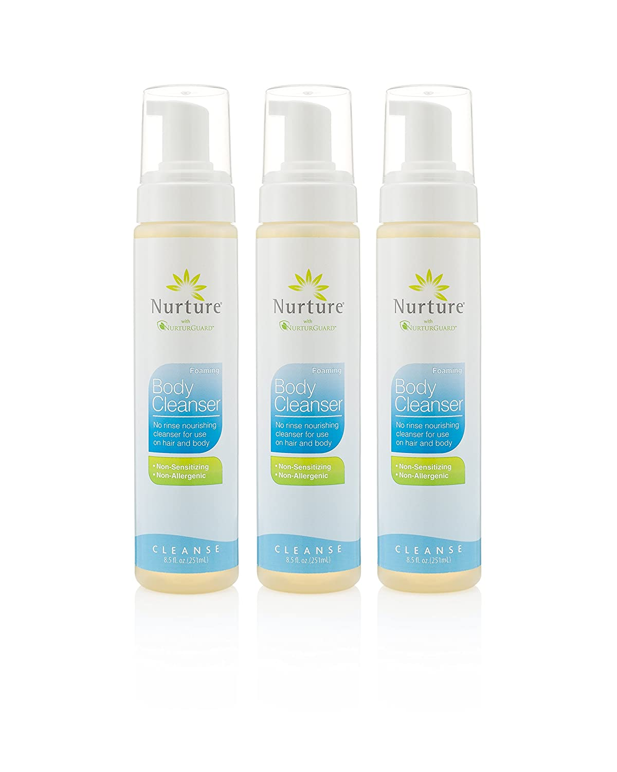 Foaming Body Cleanser by Nurture | No Rinse Body Wash That Cleanses, Moisturizes, and Protects Skin - Non Allergenic - Non sensitizing - Wipe Away Cleanser - 3 Bottles