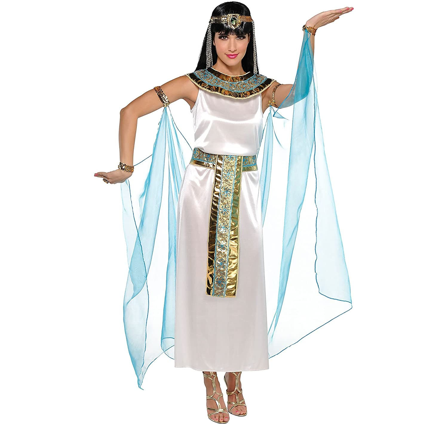 a90b4e0dbbc56 Charm the ancient Egyptian world in our Queen Cleopatra costume featuring a  full length white satin dress and an attached sheer cape