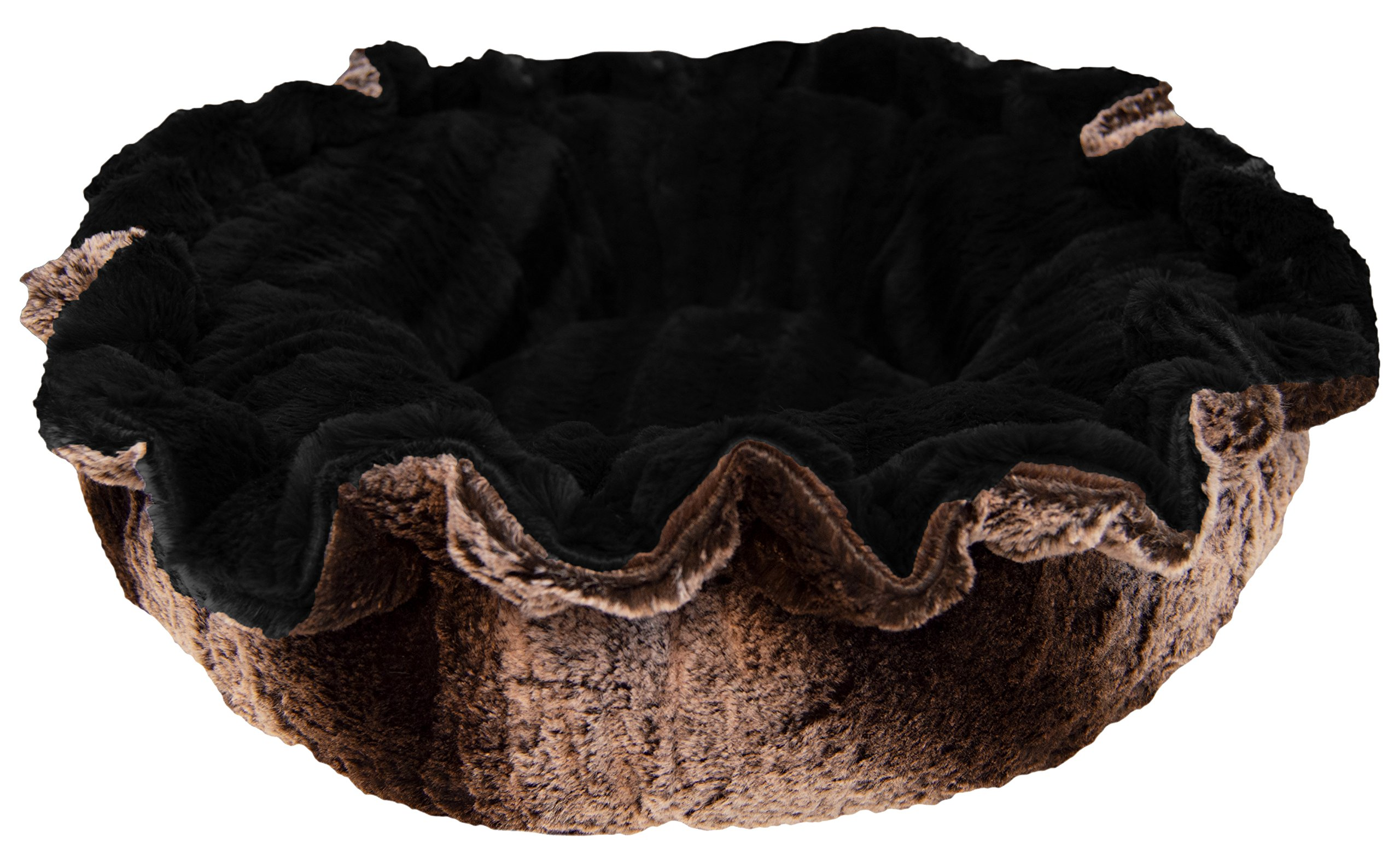 BESSIE AND BARNIE Ultra Plush Frosted Glaicer/Black Puma Luxury Deluxe Dog/Pet Lily Pod Bed