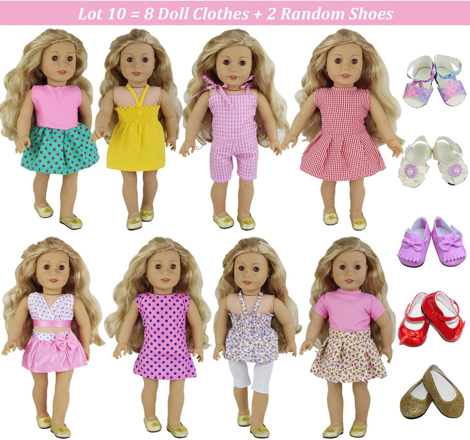 ZITA ELEMENT 6 Set of Daily Clothes and Dress for American 18 Inch Girl Doll Outfits