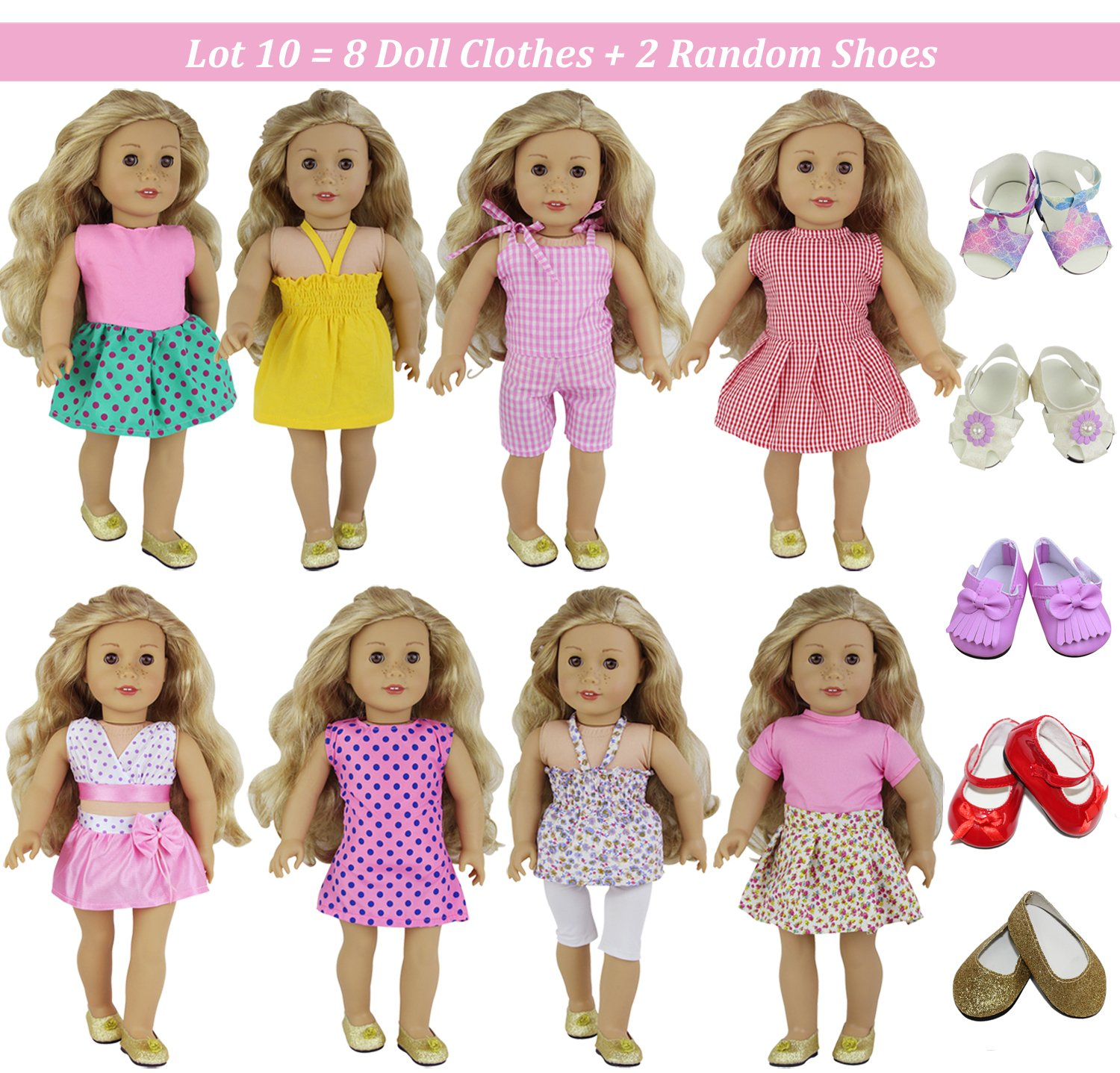 ZITA ELEMENT 10 Sets Clothes & Accessories for American Girl Doll | Handmade Fashion Oufits, Daily/Party Dress, Shoes Fits 16-18 Inch Dolls
