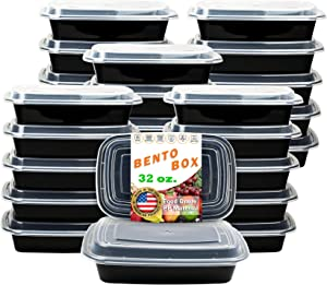 New Century, 25-Pack [32 oz] 1-Compartment Food Container - Rectangular Meal Prep Bento with Lid - Portable Lunch Box - Stackable - BPA Free - Freezer/Microwave/Dishwasher Safe - Reusable Storage
