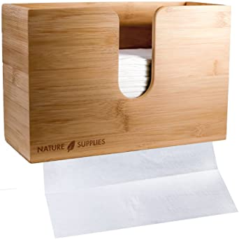 c206637e147 Bamboo Paper Towel Dispenser for Bathroom and Kitchen - Wall Mount and Countertop  Multifold Paper Towel