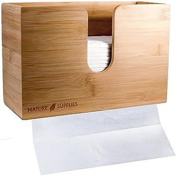 Bambú dispensador de toalla de papel para baño y cocina – soporte de pared y encimera