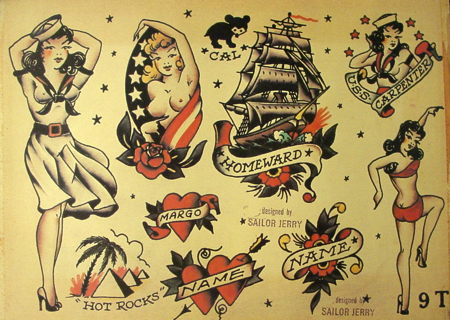 Sailor Jerry Tattoo Flash (10 Sheets): Butterflies, Devils, Pin-up ...
