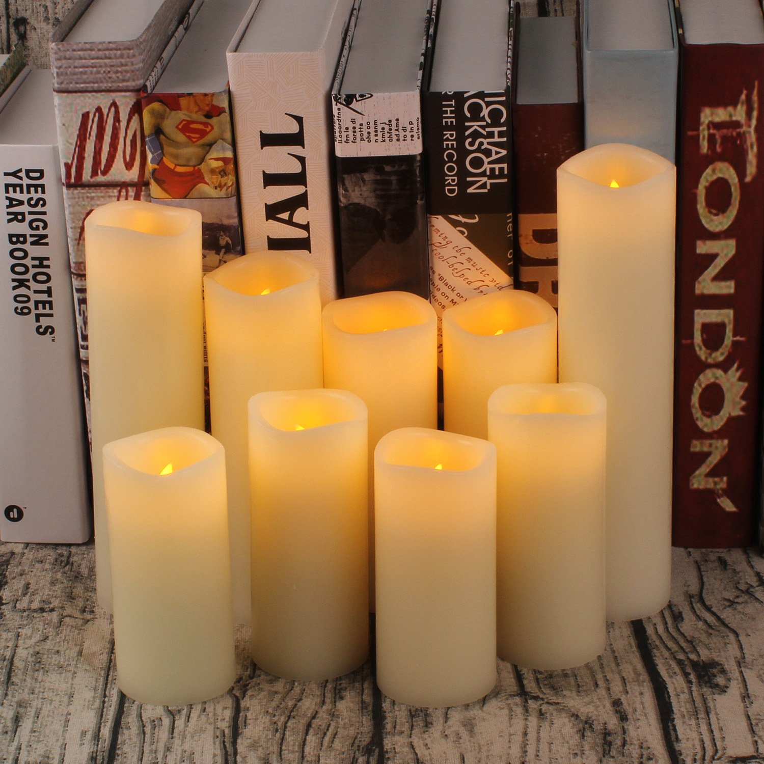 Flameless Candles Battery Operated Candles 4'' 5'' 6'' 7'' 8'' 9'' Set of 9 Ivory Real Wax Pillar LED Candles with 10-key Remote and Cycling 24 Hours Timer