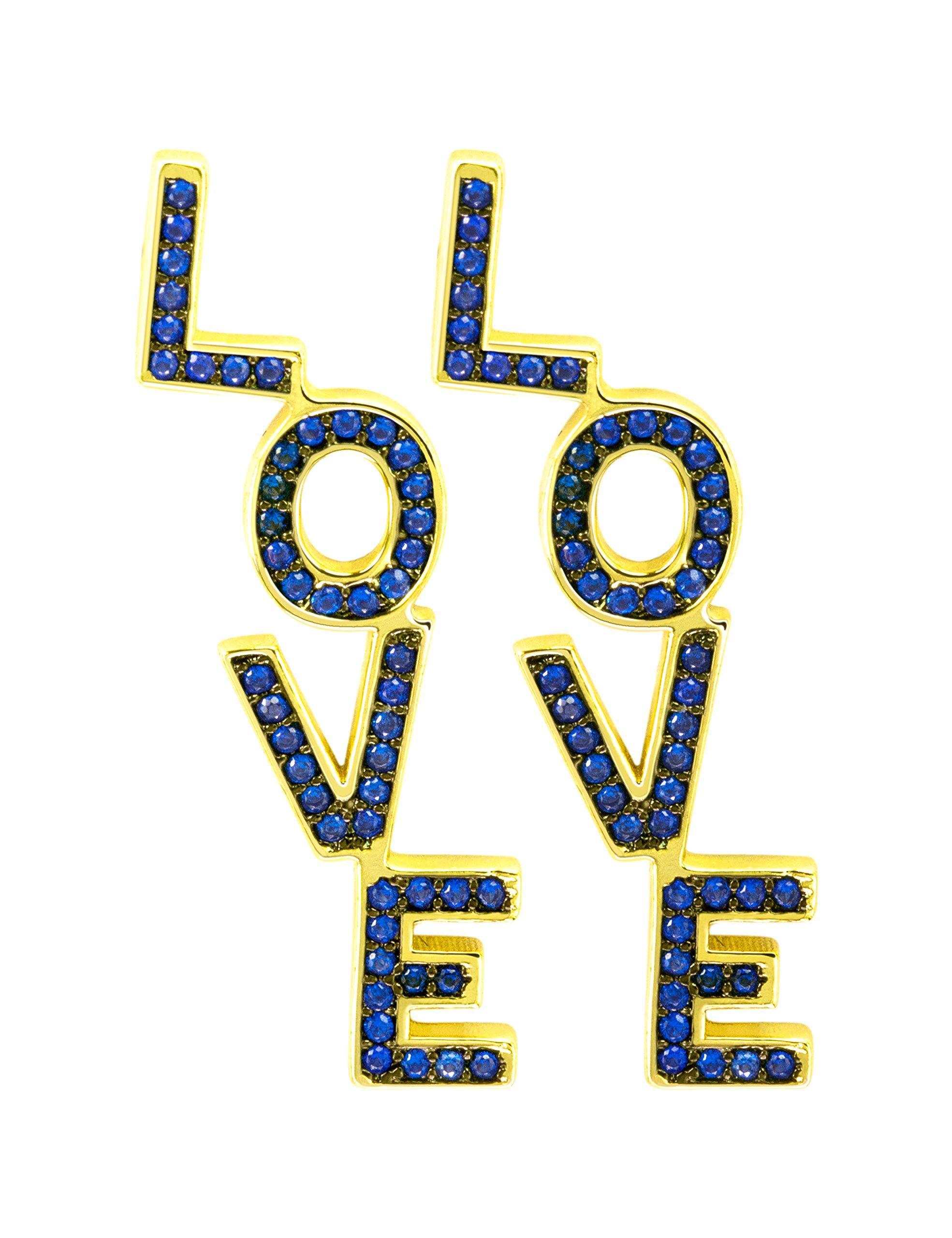 Love Earring Dangle, CZ Paved Earring for Women, Valentine's Day Bothday Gift (Capri-blue CZ)