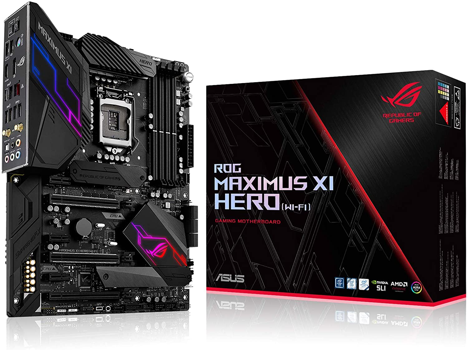 Amazon Com Asus Rog Maximus Xi Hero Wi Fi Z390 Gaming Motherboard Lga1151 Intel 8th 9th Gen Atx Ddr4 Dp Hdmi M 2 Usb 3 1 Gen2 802 11ac Wi Fi Computers Accessories
