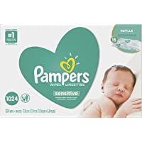 Pampers Baby Wipes Sensitive UNSCENTED 16 Refill Packs for Dispenser Tub, Hypoallergenic and Dermatologist-Tested, 1024 Count