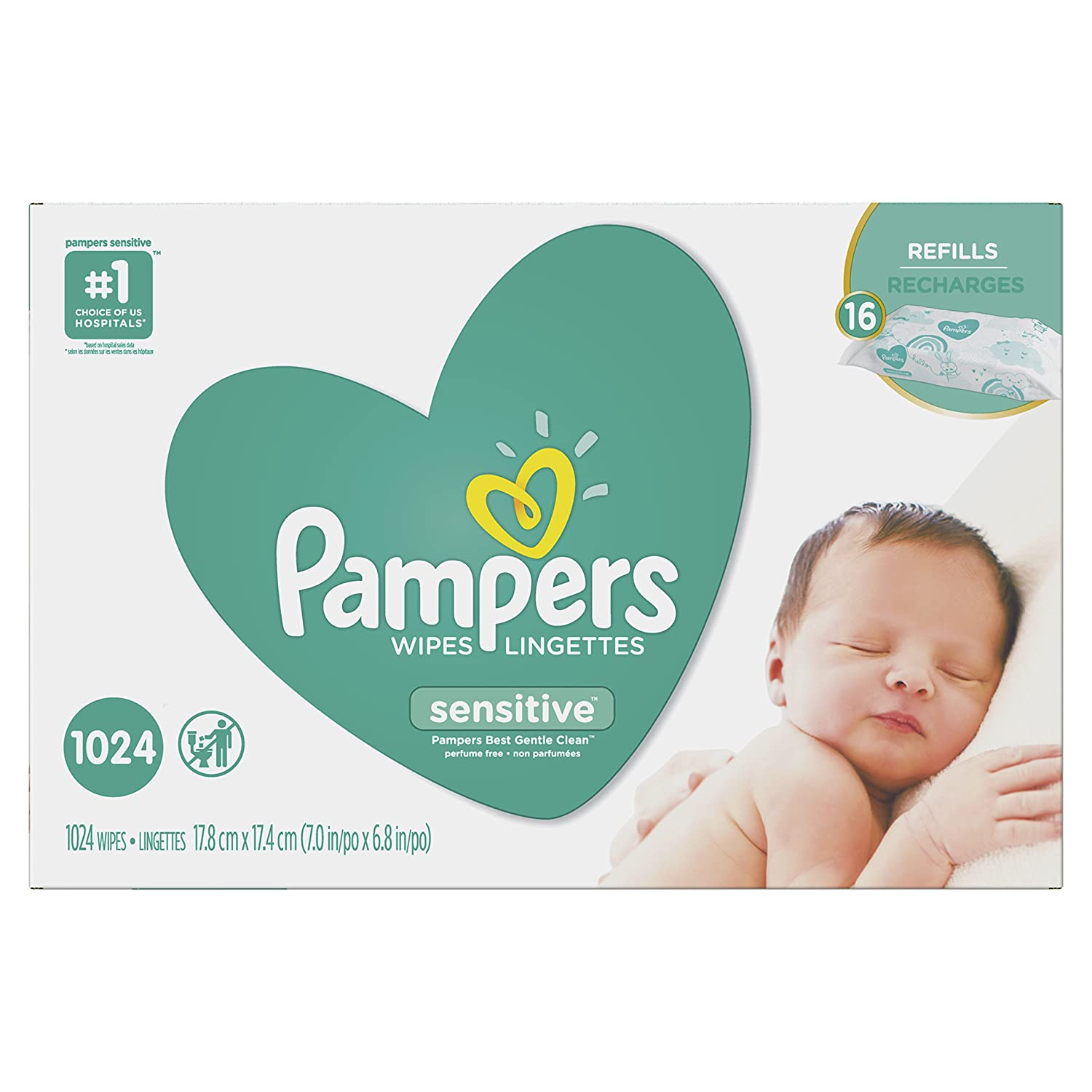 Pampers Baby Wipes Sensitive UNSCENTED 16X Refill Packs, 1024 Count Procter and Gamble