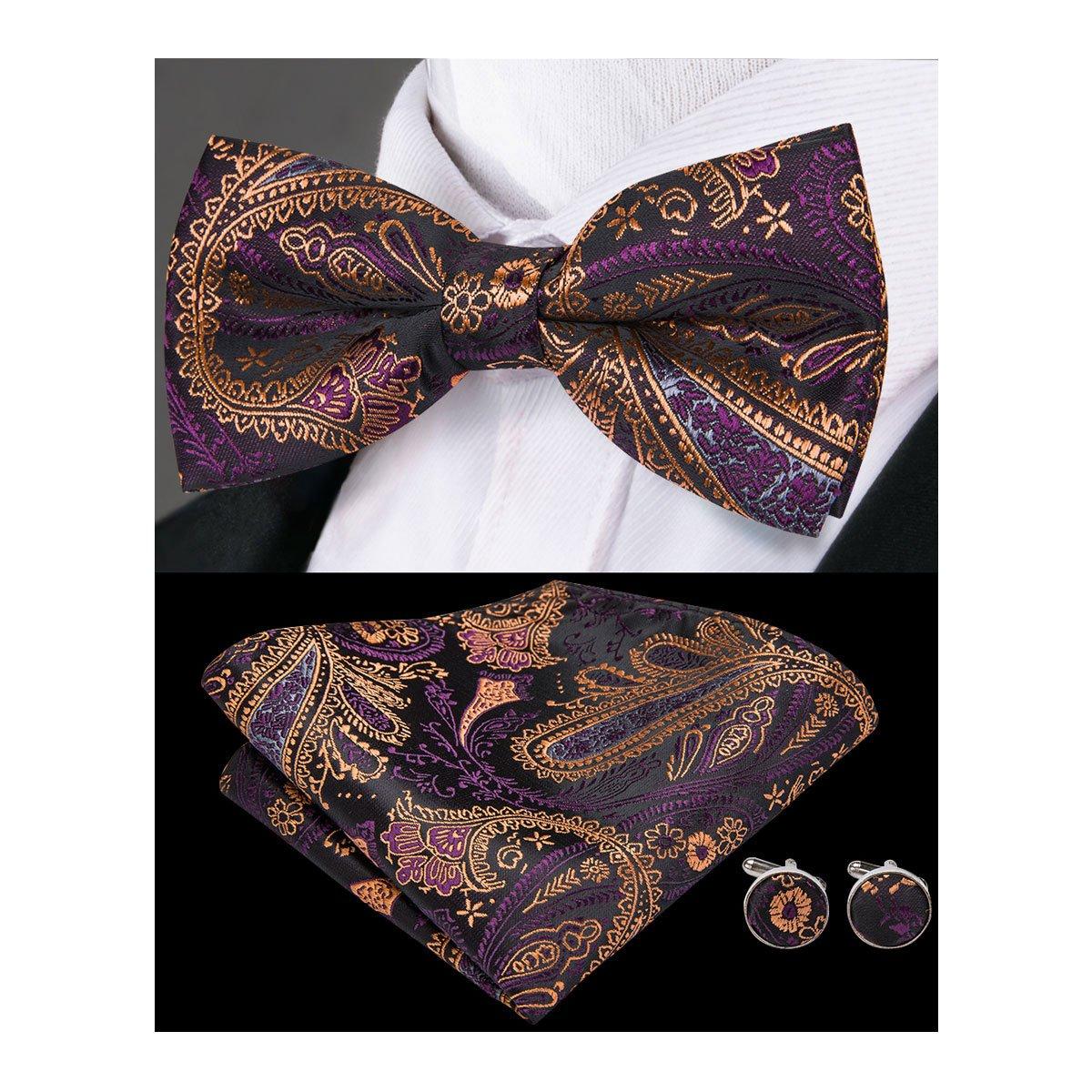 Hi-Tie Purple and Brown Paisley Mens Bowtie Hanky Cufflinks Formal Wedding Bow Tie Set
