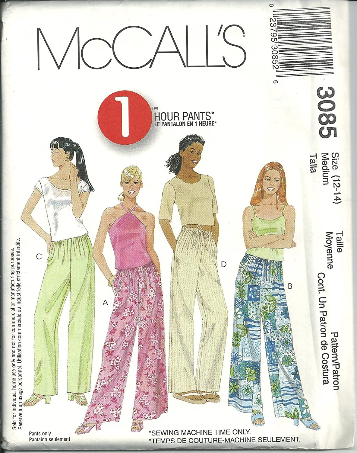 Amazon.com: 1 Hour Pants Pattern McCalls 3085 Size 12-14 Medium ...