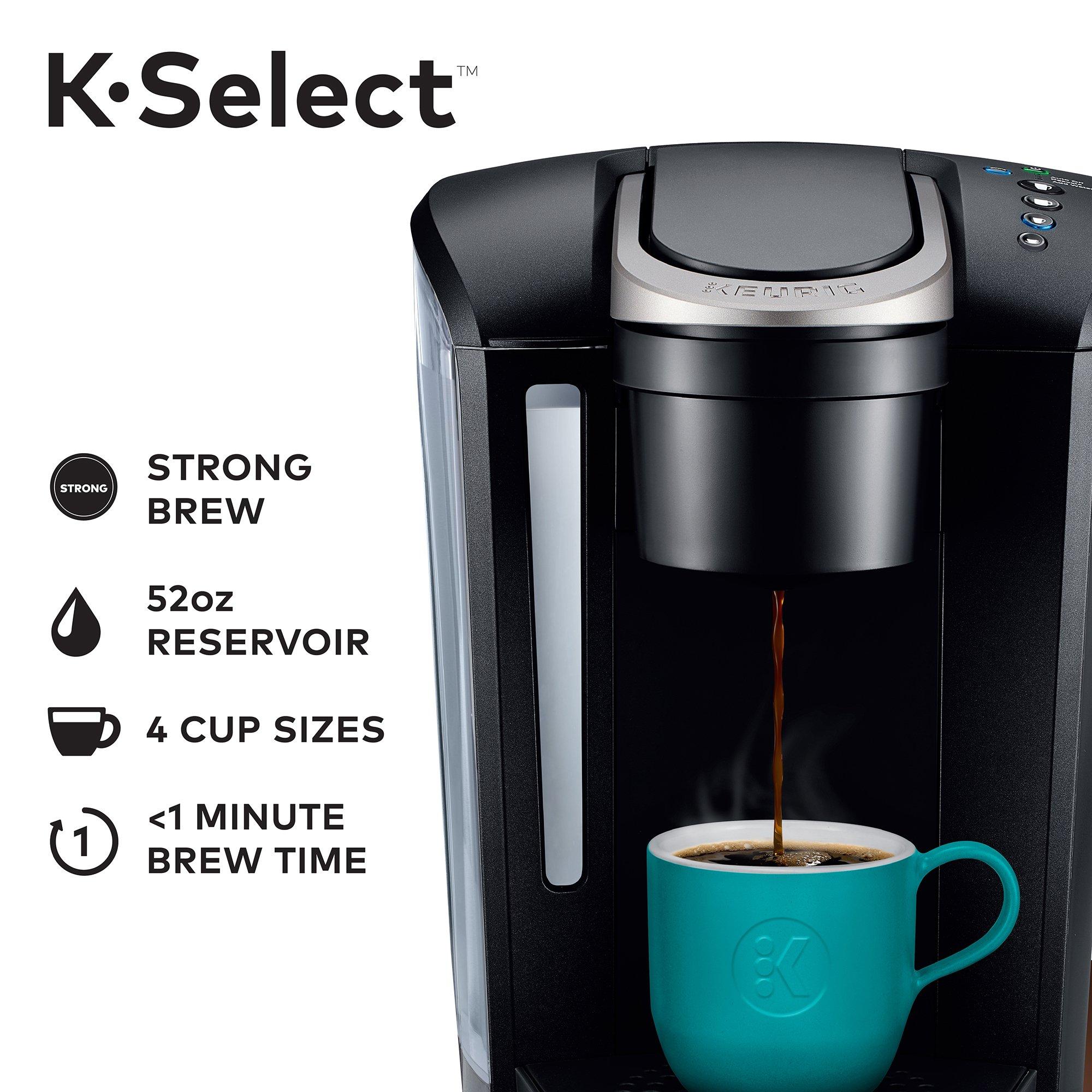 Keurig K-Select Single-Serve K-Cup Pod Coffee Maker with 12oz Brew Size, Strength Control, Matte Black by Keurig (Image #2)
