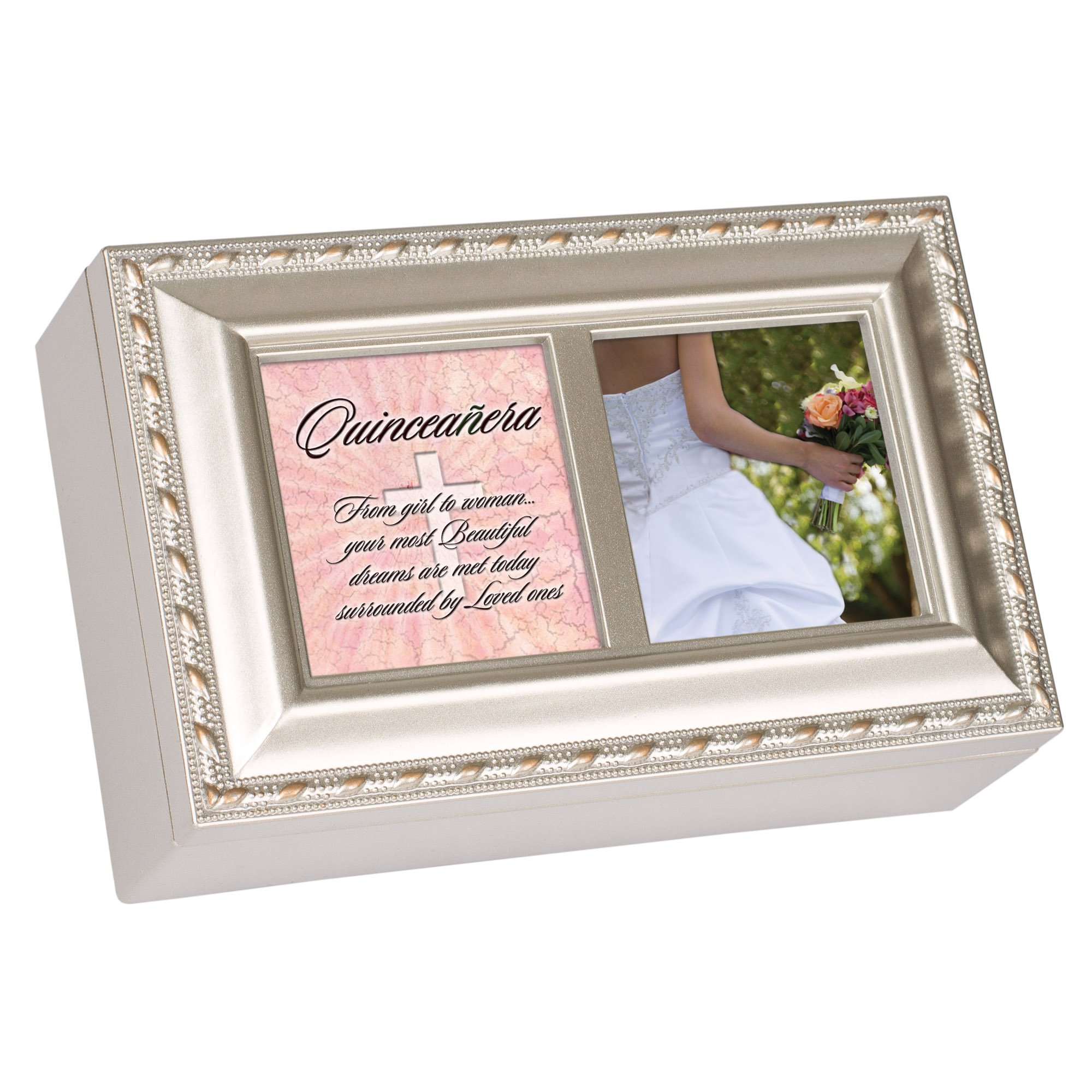 Cottage Garden Quinceanera Champagne Silver Petite Music Box Plays Light Up My Life