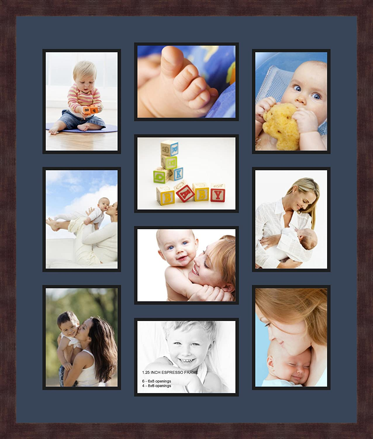 Art to Frames Double-Multimat-1024-837//89-FRBW26061 Collage Frame Photo Mat Double Mat with 10-6x8 Openings and Espresso Frame