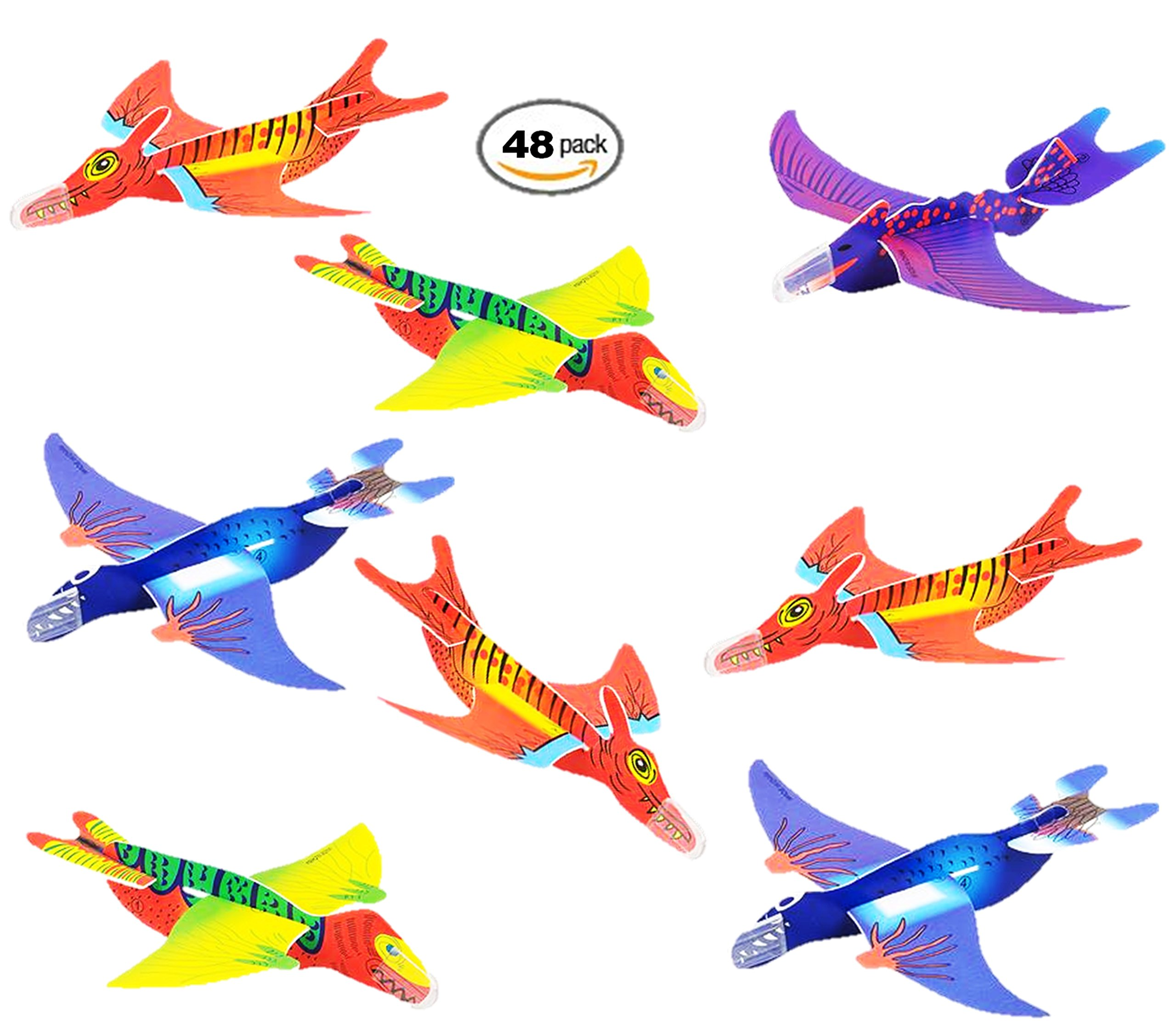 Play Kreative 48 PK Flying Dinosaur Glider Planes - Kids party favors for Dinosaur Party Events