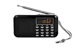 Portable Am Fm Radio Mp3 Music Player Speaker Support Micro Sd/TF Card with LED Screen Display (Black)