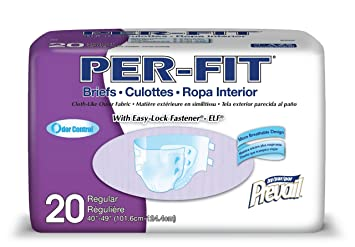 Prevail Per-Fit Maximum Plus Absorbency Incontinence Briefs Regular 20 Count Breathable Rapid Absorption Discreet