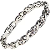 Ladies Magnetic Bracelet Silver Finish Natural Pain Relief Therapy by Mind n Body