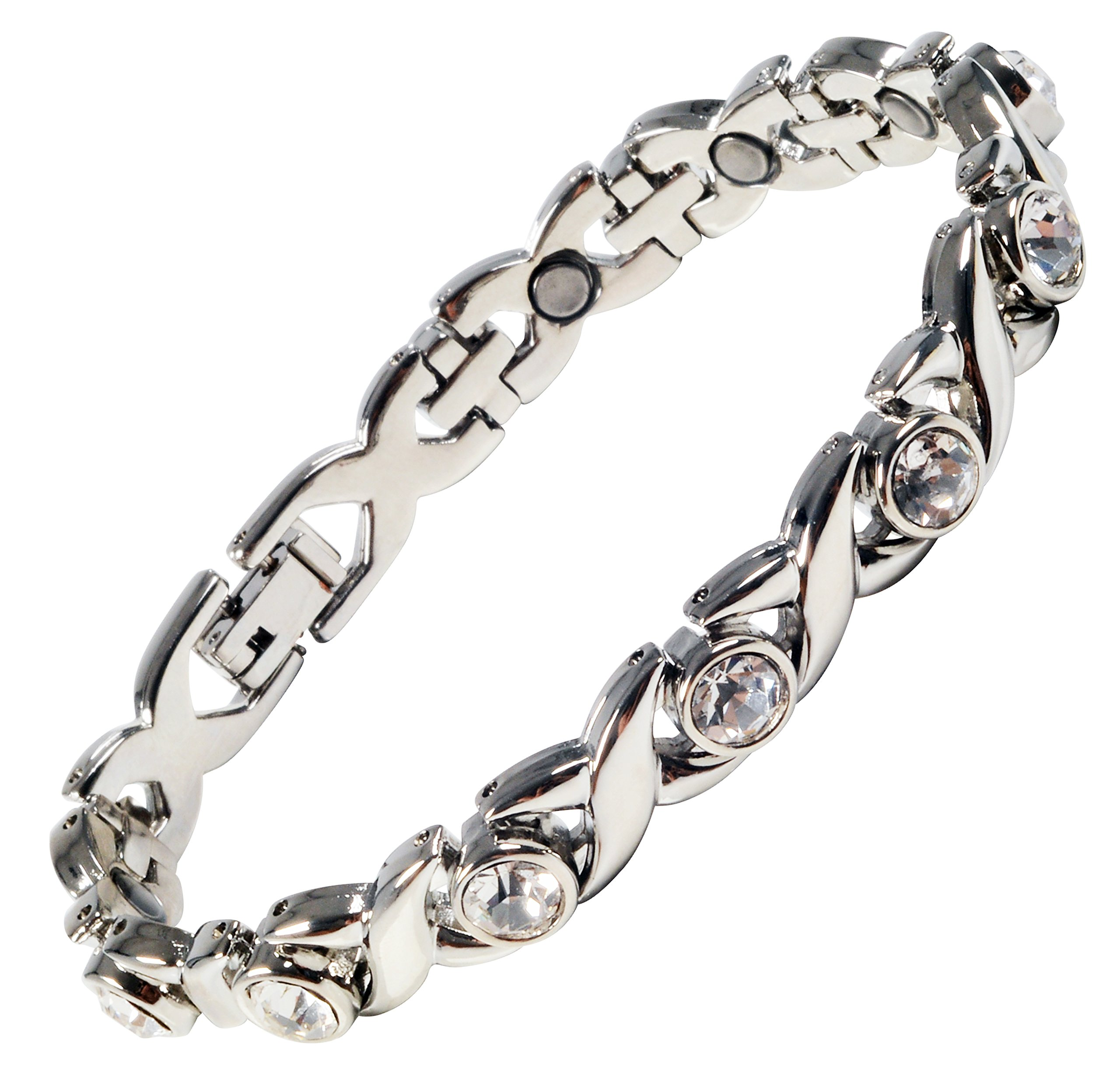 Magnetic Bracelet for Women Silver Finish Natural Pain Relief Therapy by Mind n Body