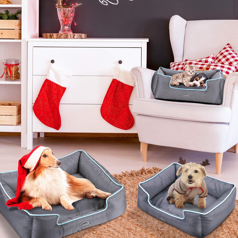 Pecute Cuccia per Cani Sfoderabile Cuscino Rettangolare in Tessuto Oxford Impermeabile Lavabile in Lavatrice