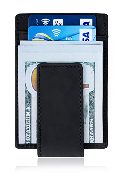 baceb0c437cf Mr. Wallet Money Clip Front Pocket Magnetic Genuine Leather Minimalist Slim  Thin RFID Blocking Wallets