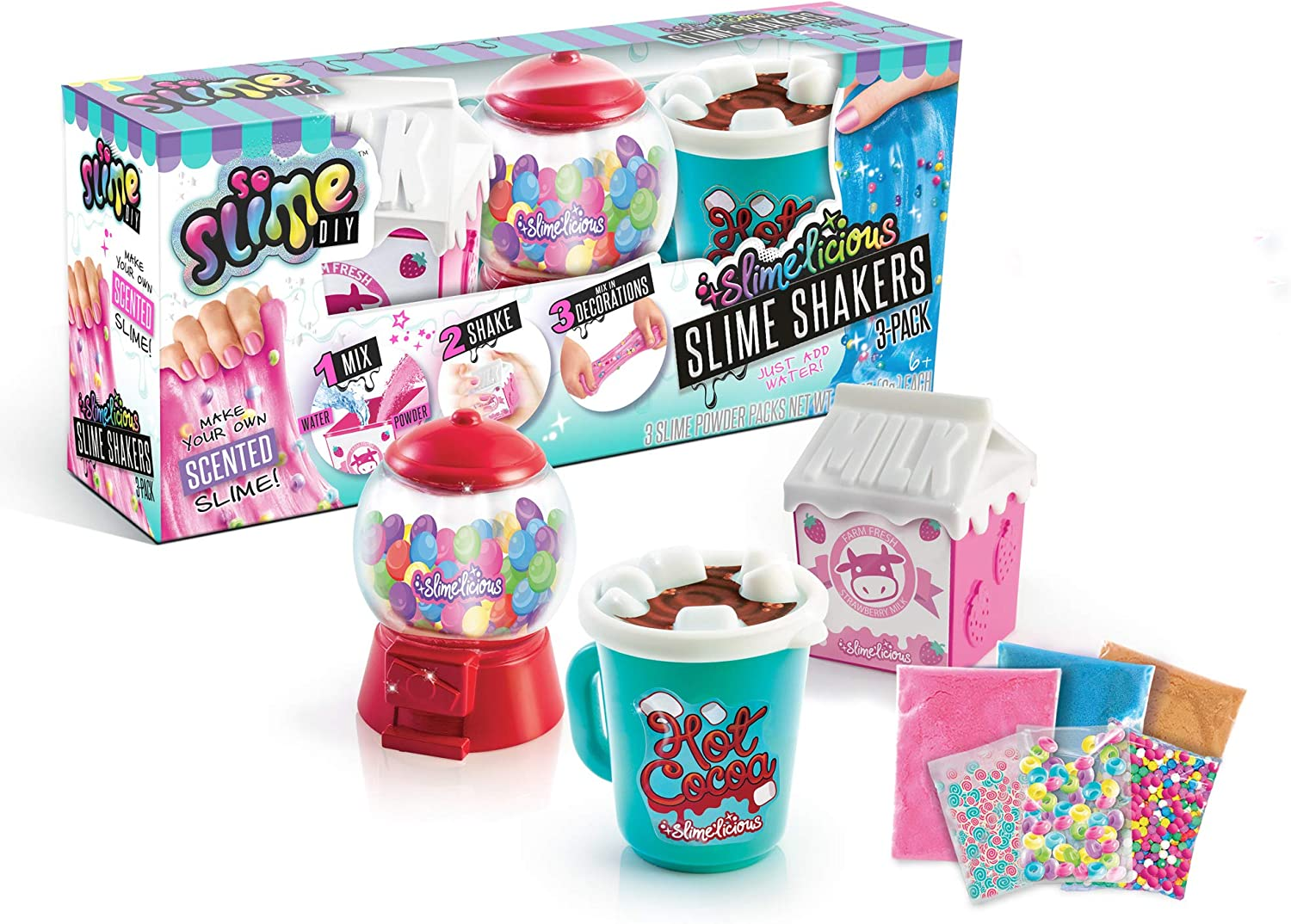 Canal Toys USA Ltd So Slime DIY - Slime'licious Scented Slime 3-Pack – Gumballs, Strawberry Milk & Hot Chocolate