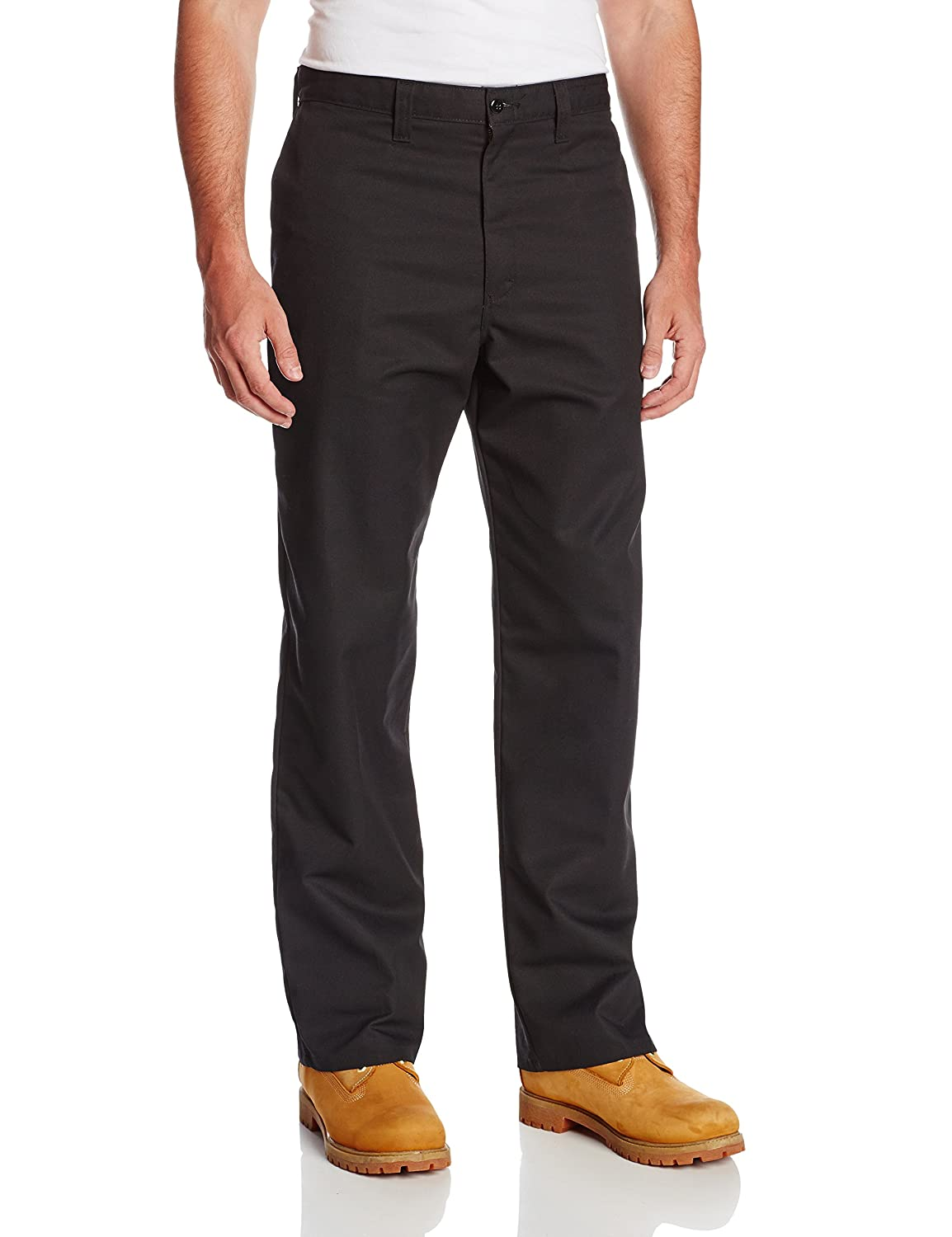 Dickies Occupational Workwear LP812BK 54x30 Polyester/Cotton Relaxed Fit Men's Industrial Flat Front Pant with Straight Leg, 54 Waist Size, 30 Inseam, Black 54 Waist Size 30 Inseam