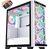 MUSETEX 2× USB 3.0,6 PCS ARGB Fans,Full Tower Case,Tempered Glass Panels,Voice Remote Control,PC Gaming Case Computer Chassis