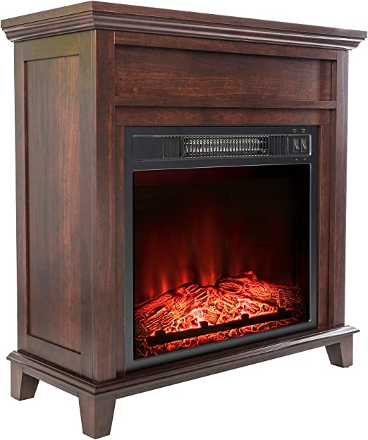 Amazon Com Akdy 27 Electric Fireplace Freestanding Brown Wooden