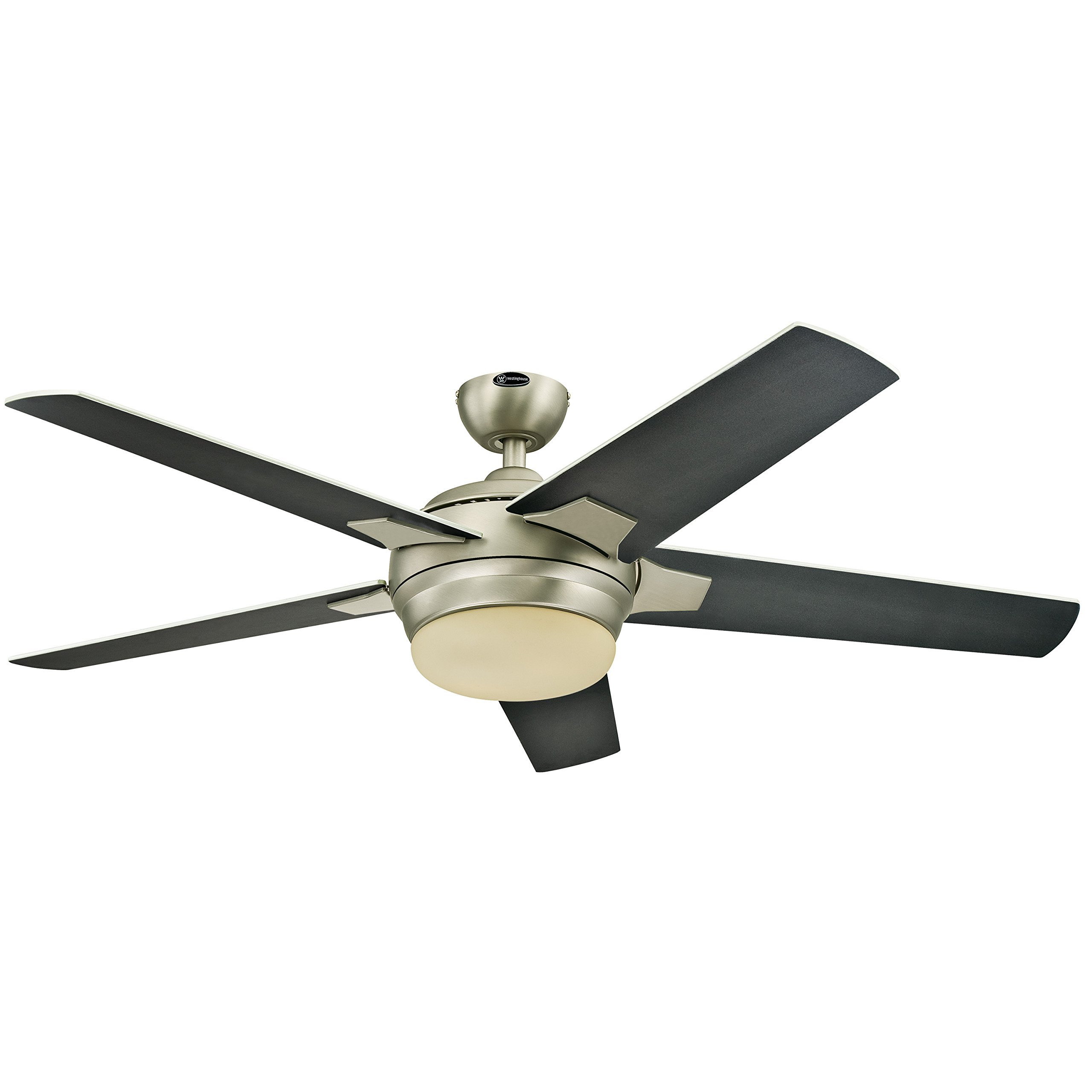 Westinghouse 7204000 Bolton Two-Light 52'' Reversible Plywood Five-Blade Indoor Ceiling Fan, Brushed Aluminum