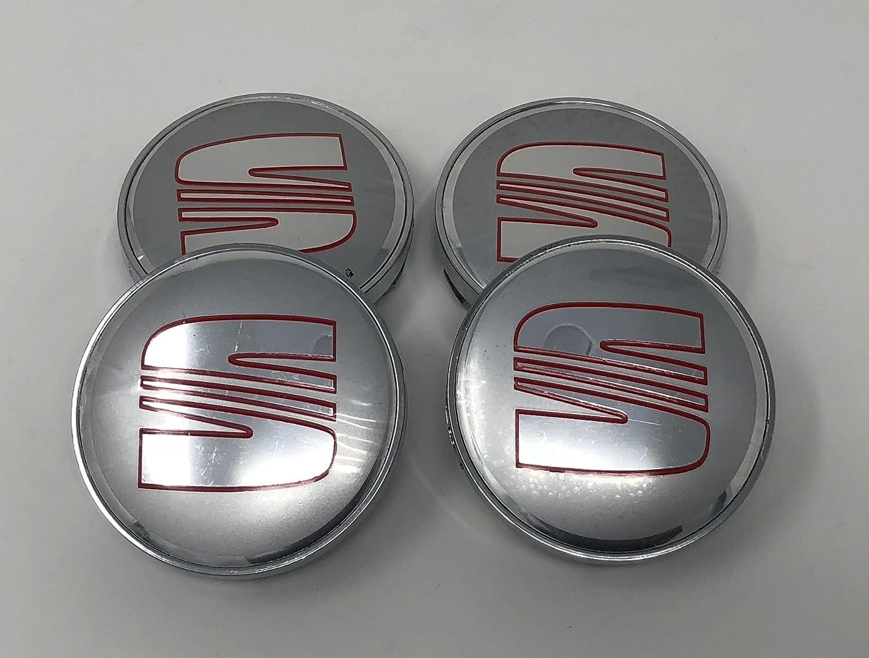4 emblemas decorativos para el centro de los tapacubos de las llantas de Seat, color rojo cromado, 56 mm: Amazon.es: Coche y moto