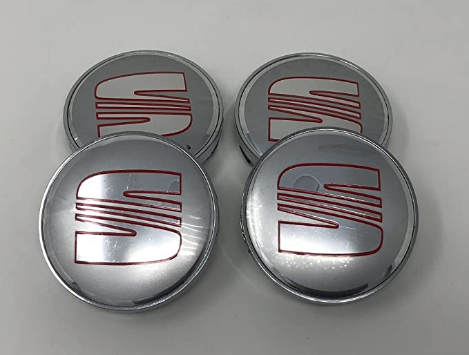 4 emblemas decorativos para el centro de los tapacubos de las llantas de Seat, color