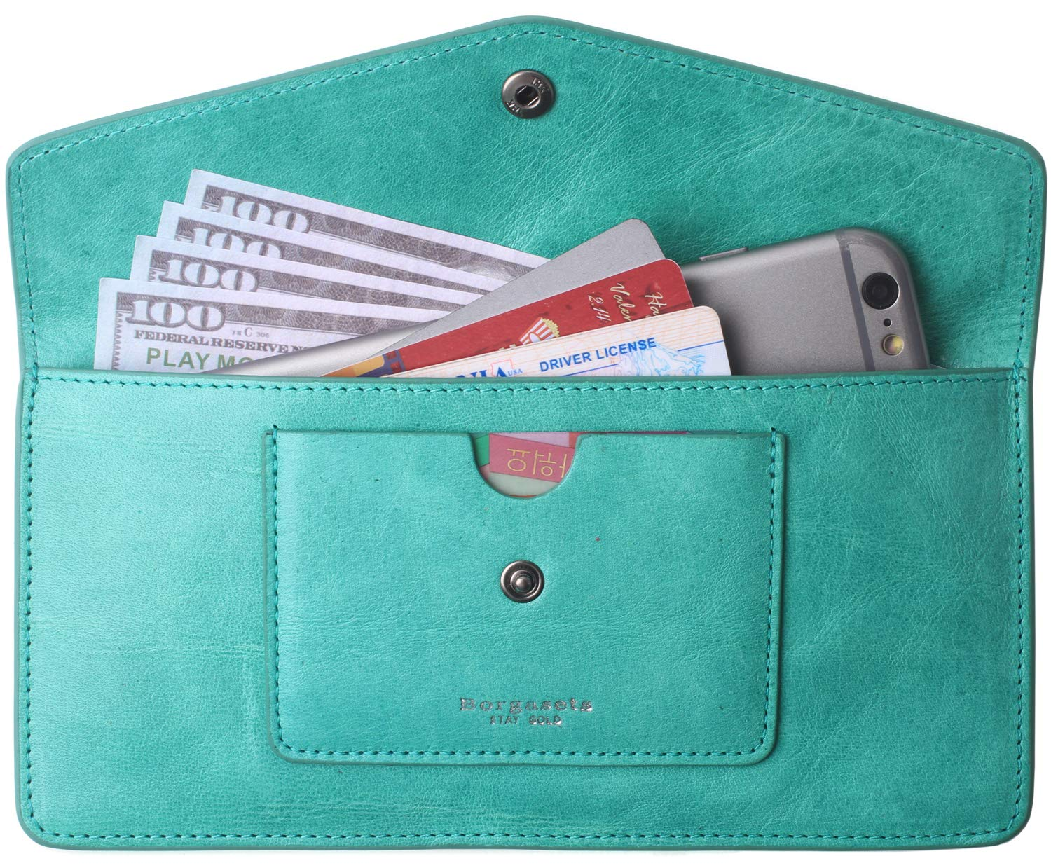 Wallets for Women Leather RFID Credit Card Holder Thin Ladies Phone Wallet Purse Light Peacock Blue