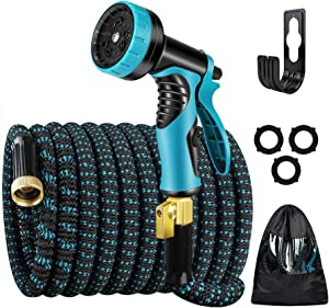 """Kingtaily Expandable Garden Hose 50ft, Flexible Water Hose with 9 Function Nozzle and Durable 3-Layers Latex, 3/4"""" Solid Brass Connectors, 3300D Fabric Kink Free Hose (Blue)"""