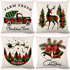 CDWERD Christmas Throw Pillow Covers Buffalo Plaid Red and Green Christmas Decorations 18x18 Inches Farmhouse Pillowcase Cotton Linen Cushion Case for Home Decor Set of 4