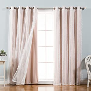 "Best Home Fashion Mix & Match Dotted Tulle Lace & Solid Blackout 4 Piece Curtain Set – Antique Bronze Grommet Top – Dustypink – 52"" W x 96"" L – (Set of 4 Panels)"