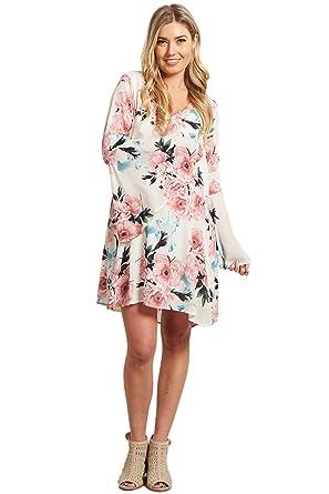 7ed761b4cf08d PinkBlush Maternity Ivory Floral Chiffon Trumpet Sleeve Dress, Large ...