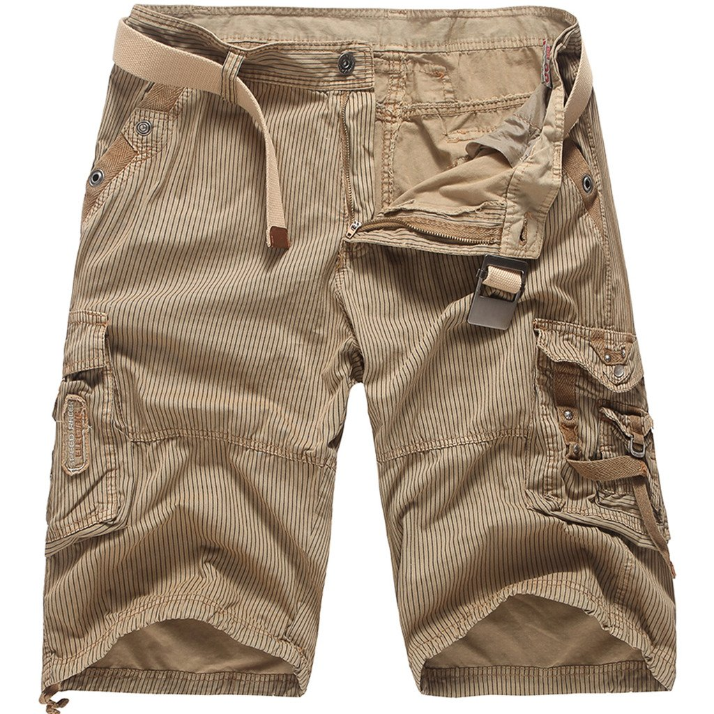 WSLCN Men Cargo Stripe Shorts Boy Cropped Sailor Cotton Shorts No Belt AW-G353