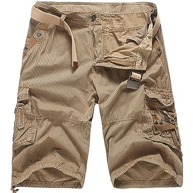 WSLCN Homme Cargo Shorts À Rayures Garçon Look Sailor Shorts Pantacourt Rayé  Coton Décontracté sans Ceinture 069b33ab6a0