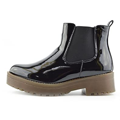 262368d3d85 CityStyle4You - Ladies Patent Pull On Chelsea Style Dealer Ankle Boots,  Chunky Sole Casual Boots