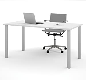 Bestar Table with Square Metal Legs, 30 x 60, White