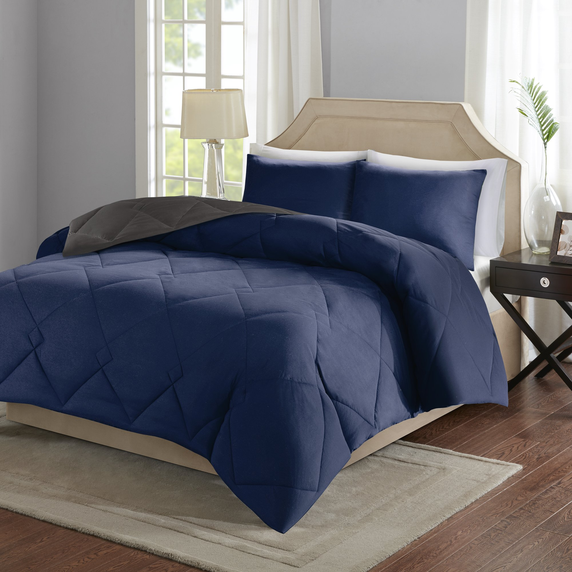 Comfort Spaces – Vixie Reversible Goose Down Alternative Comforter Mini Set - 3 Piece – Navy and Charcoal – Stitched Geometrical Diamond Pattern – Full/Queen size, includes 1 Comforter, 2 Shams