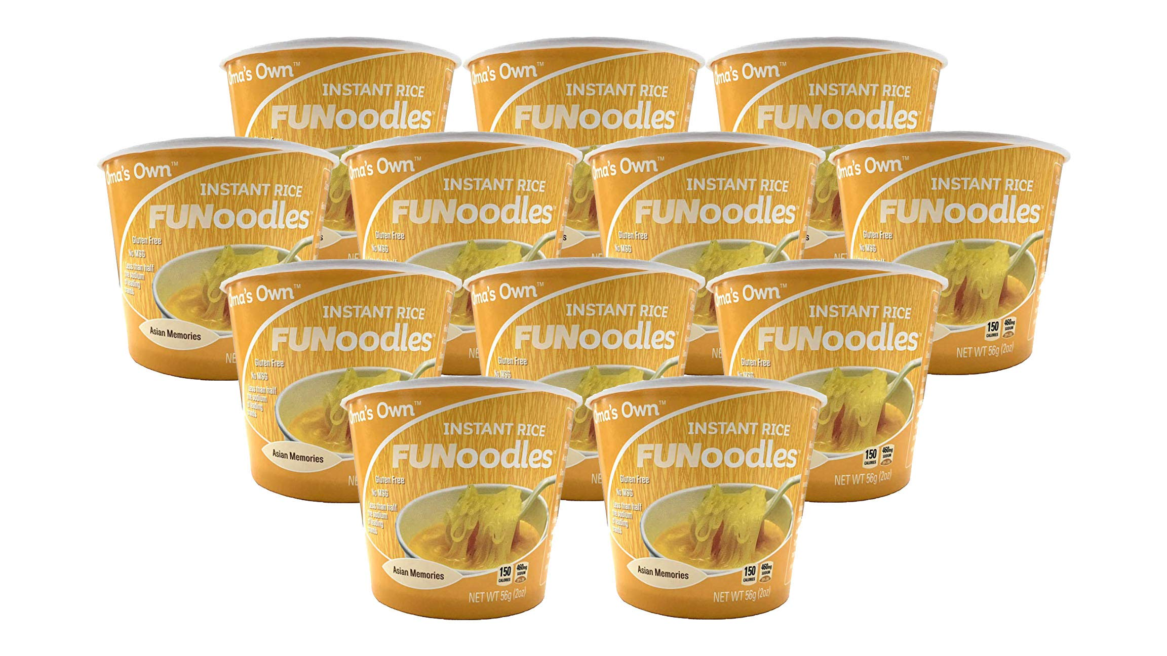 Oma's Own FUNoodles (Asian Memories) Vegetarian, Gluten Free, No MSG, Non-GMO, 2 oz cups (12 count) ... (Asian) ... by OMA'S OWN